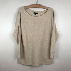 J.Crew Sweater Ribbed Boatneck Tunic Beige L
